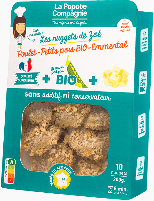 Packaging des nuggets de zoé