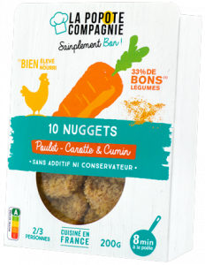 Packaging des nuggets poulet carottes cumin
